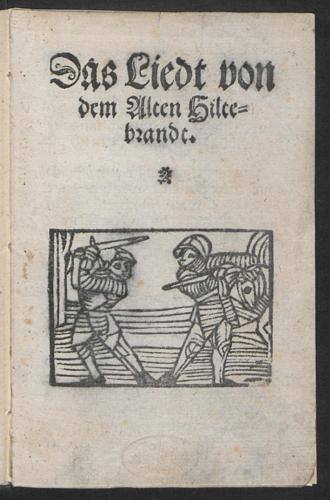 Jüngeres Hildebrandslied - Title page of the Jüngeres Hildebrandslied. Valentin Newber, Nuremberg, 1570. Staatsbibliothek Berlin Yf 8215 R.