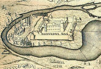 Daugavgrīva castle - The Siege of Daugavgrīva Castle during the Polish-Swedish War in 1601. Engraving of Džakomo Lauro.