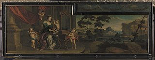Saint Cecilia playing the organ, with landscape