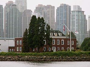 Deadman's Island (Vancouver) - Naval Reserve Division HMCS Discovery on Deadman Island.