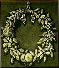 Decoratiestuk met lauwerkrans met bloemen en vruchten