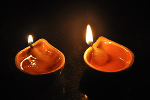 Diya (lamp) - Image: Deepavali ha Nate