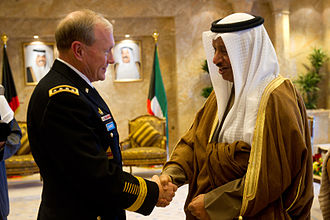 Foreign relations of Kuwait - United States Chairman of the Joint Chiefs of Staff, Martin Dempsey, with Kuwaiti Prime Minister Sheikh Jaber Mubarak Al-Sabah in 2011.