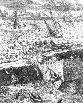 Jakob van Hoddis - Historical dike burst, copper engraving, 1661