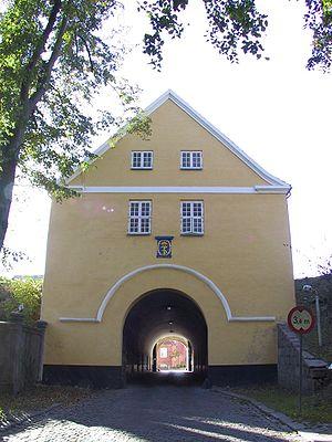 Nyborg Municipality - The 40 metre long gatehouse Landporten in Nyborg