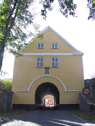 Nyborg - The 40-metre-long gatehouse Landporten in Nyborg, which was used to defend the town's inner circle during attacks.