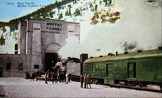 Denver and Salt Lake Railway - Denver and Salt Lake train entering the eastern portal of the Moffat Tunnel.