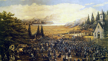 Expulsion of the Acadians in Grand-Pre. More than 80 per cent of the Acadian population was expelled from the region between 1755 and 1764. Deportation Grand-Pre.jpg