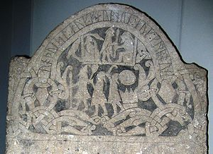 Freyr - A detail from Gotland runestone G 181, in the Swedish Museum of National Antiquities in Stockholm. The three men are interpreted as Odin, Thor, and Freyr.