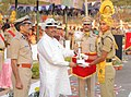 Dharmendra Pradhan presenting the trophies to successful candidates, at the passing out parade of 43rd batch of Central Industrial Security Force (CISF) Battalion, at Mundali, Cuttack district of Odisha.jpg