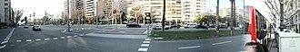 Avinguda Diagonal - Panoramic photograph of Avinguda Diagonal, Barcelona in January 2011
