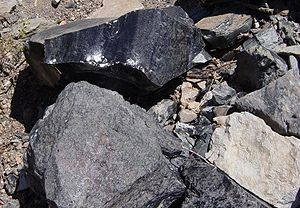 Rhyolite - Top: obsidian (vitrophyre), below: pumice, lower right: is rhyolite (light colour)
