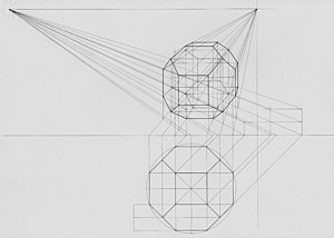 Graphical projection - Perspective of a geometric solid using two vanishing points. In this case, the map of the solid (orthogonal projection) is drawn below the perspective, as if bending the ground plane.