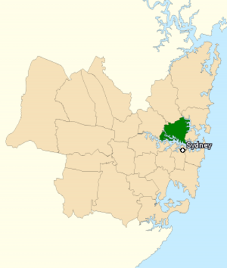 North Sydney by-election, 2015 - The Division of North Sydney covers much of the North Shore area, including the North Sydney area and the suburbs of Artarmon, Cammeray, Cremorne, Cremorne Point, Crows Nest, Gore Hill, Greenwich, Henley, Hunters Hill, Huntleys Point, Kirribilli, Lane Cove, Lane Cove North, Lane Cove West, Lavender Bay, Linley Point, Longueville, McMahons Point, Milsons Point, Naremburn, Neutral Bay, Northbridge, Northwood, Riverview, St Leonards, Waverton, Wollstonecraft, Woolwich and parts of Castlecrag, Gladesville and Willoughby.