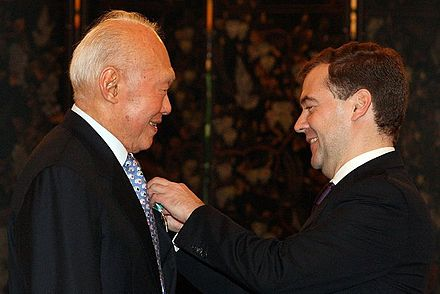 Lee receives the Order of Friendship from Russian President Dmitry Medvedev on 15 November 2009 in Singapore Dmitry Medvedev in Singapore 15-16 November 2009-5.jpg
