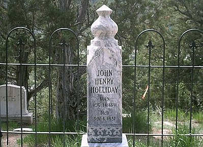 The records were lost of exactly where Holliday's body is located within the cemetery, so the City of Glenwood Springs erected a headstone, but it had the wrong birth year on it. This monument replaced the former monument. Docholdayheadstone.jpg