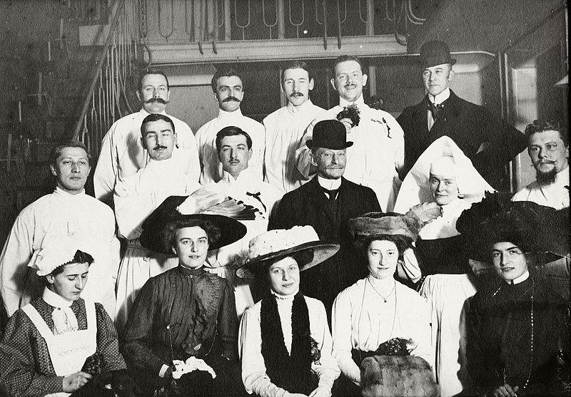 File:Doctor, bowler hat, nurse, tableau, moustache, lady ...