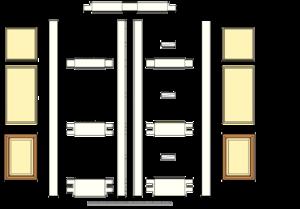 Double margin doors - Sample showing the parts of a double margin door.