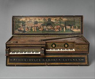 Virginals - Double virginal (1581) by Hans Ruckers the Elder. (MET 29.90)