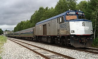 Downeaster (train) - A typical Downeaster consist containing 4 coaches, 1 business/cafe car, a NPCU, and a GE Genesis P42