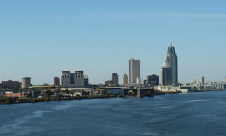 Mobile, fourth-largest city and third-largest metropolitan area Downtown Mobile 2008 01.jpg