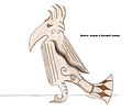 Drawing of wooden native Jasper's Hornbill statue.jpg