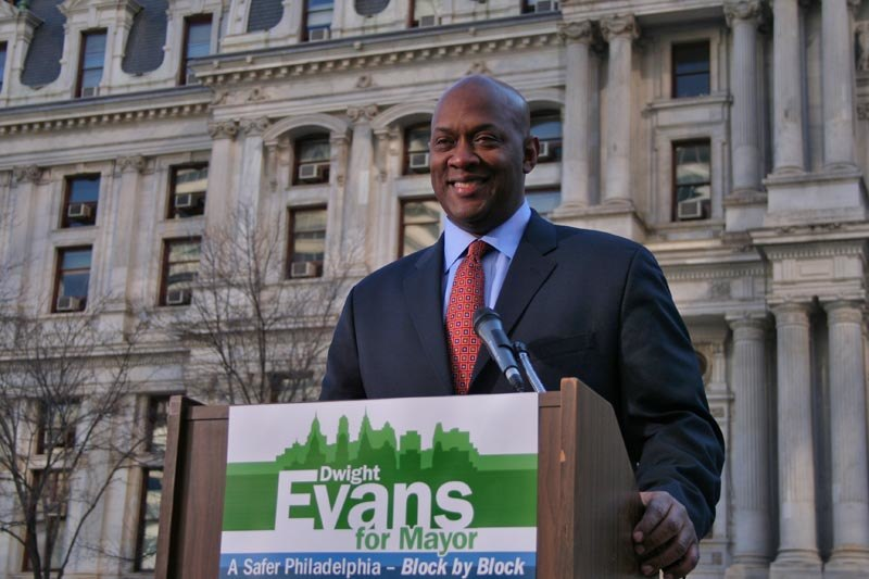 Dwight Evans at a rally outside City Hall
