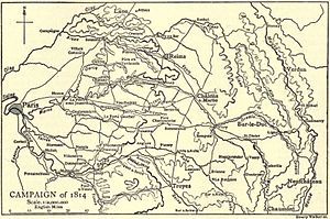 Battle of Fère-Champenoise - Campaign map shows Fère-Champenoise southwest of Châlons-sur-Marne at map center.