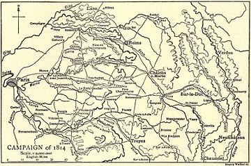 Black and yellow map of the Campaign of 1814 in 1:2,000,000 scale