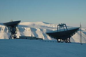 EISCAT - The two antennas of the EISCAT Svalbard Radar