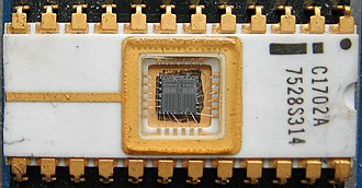 EPROM - An Intel 1702A EPROM, one of the earliest EPROM types (1971), 256 by 8 bit. The small quartz window admits UV light for erasure.