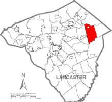Map of Lancaster County, Pennsylvania highlighting East Earl Township