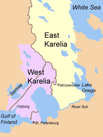 East Karelia - East Karelia and West Karelia with borders of 1939 and 1940/1947. They are also known as Russian Karelia and Finnish Karelia respectively.