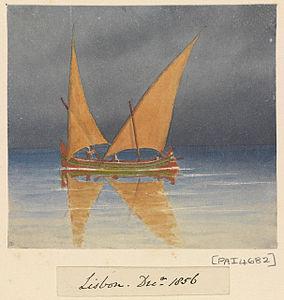 Edward Gennys Fanshawe, A lateen-rigged Portuguese sailing vessel, Lisbon, 1856 (Portugal).jpg