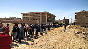 Egyptian constitutional referendum, 2011 - The men's line during the referendum, in the up-scale neighborhood of Mokattam Hill in Cairo