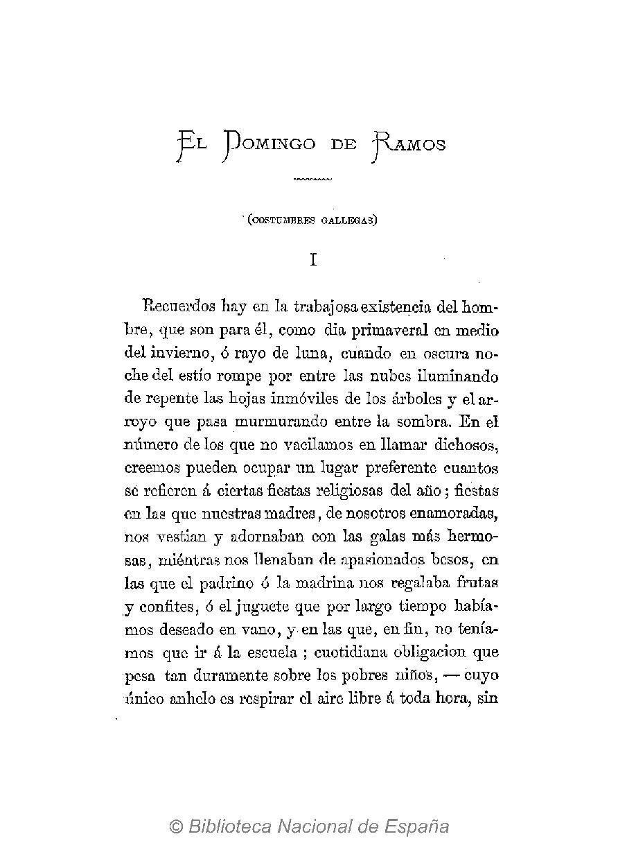 El Domingo de Ramos, incluído en El primer loco. 1881.