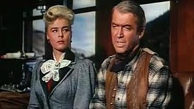 Elaine Stewart-James Stewart in Night Passage trailer.jpg