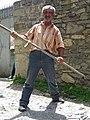 Elderly Farmer Plays Grim Reaper - Village of Kis - Near Sheki - Azerbaijan - 01 (17646624164).jpg