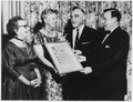 Eleanor Roosevelt, Bessie Hillman, Jacob Potofsky, and Walter Reuther in New York City - NARA - 195505.tif