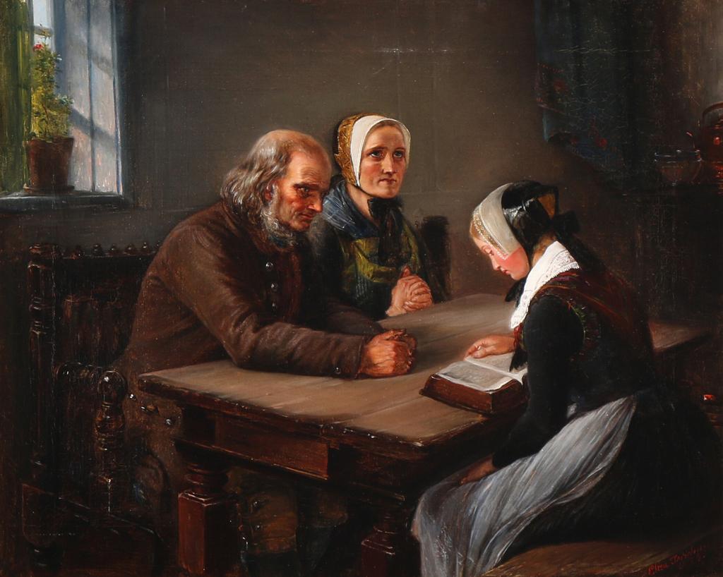 Элизабет Иерихау Бауман - En ung pige læser op af Bibelen - 1854.png