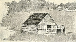 Thomas Lincoln - Cabin which formerly stood on Race Street, North of the bridge over Valley Creek, Elizabethtown. Drawn by George L. Frankenstein from nature, in 1865, when tradition said it was the dwelling of Thomas Lincoln after his first marriage.