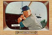"A baseball card of a man holding a baseball bat. The name ""Tappe"" is listed in the bottom left corner."