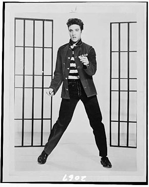 "1957 in music - Elvis Presley in 1957 film ""Jailhouse Rock""."