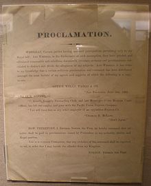 "An undated proclamation issued by Emperor Norton I regarding the assumption of his prerogatives by ""certain parties"" on display at the Wells Fargo History Museum in San Francisco, California."