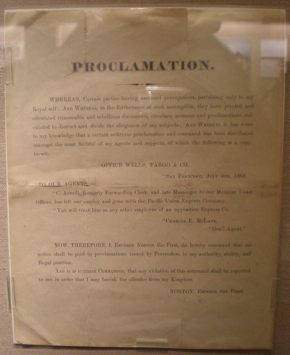 Emperor Norton proclamation re. assumption of prerogatives WFHM SF