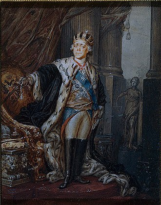 Emperor Paul wearing the Crown of the Grand Master of the Order of Malta (1799). Emperor Paul in the Crown of the Grand Master of the Order of Malta.jpeg