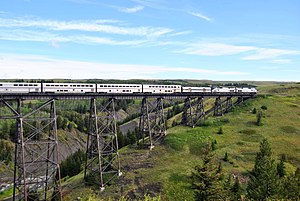 Empire Builder - The Empire Builder crosses the Two Medicine Trestle at East Glacier Park, Montana in 2011.