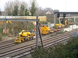 Engineering work east of Cardiff Central (geograph 6013055).jpg
