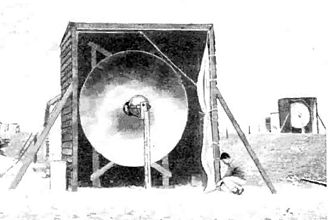 Microwave transmission - Antennas of 1931 experimental 1.7 GHz microwave relay link across the English Channel.  The receiving antenna (background, right) was located behind the transmitting antenna to avoid interference.