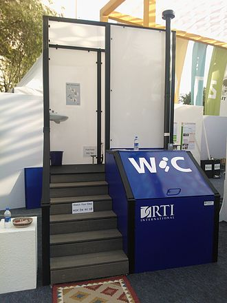 Incinerating toilet - Example of incineration toilet under development by RTI International. The blue section to the right contains some of the drying and combustion components.